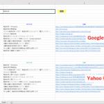 Excel VBA(マクロ)を使ってキーワードを Yahoo、Google で同時検索してタイトル、URL をシート上に表示する方法