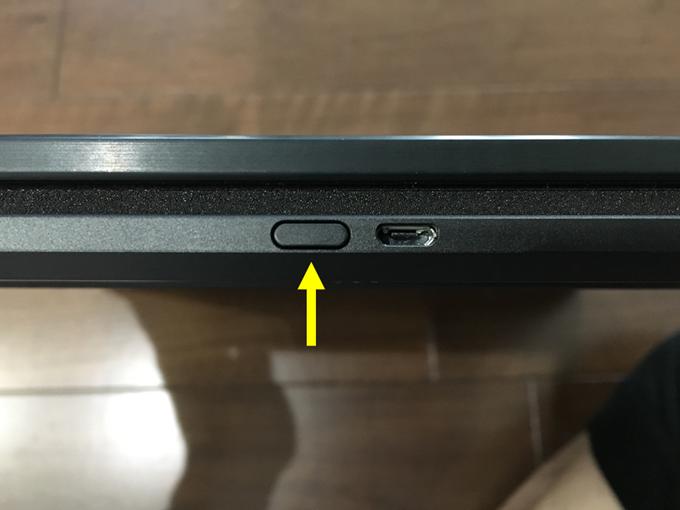体重計本体の側面にあるボタン長押し