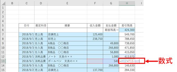 現金出納帳の数式