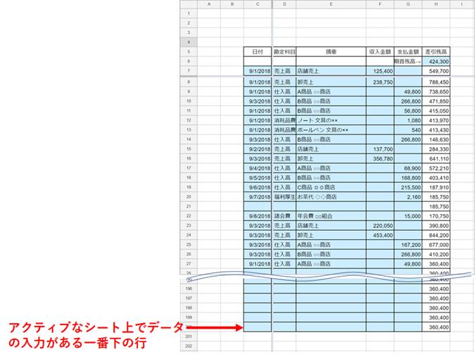 アクティブなシート上でデータの入力がある一番下の行番号